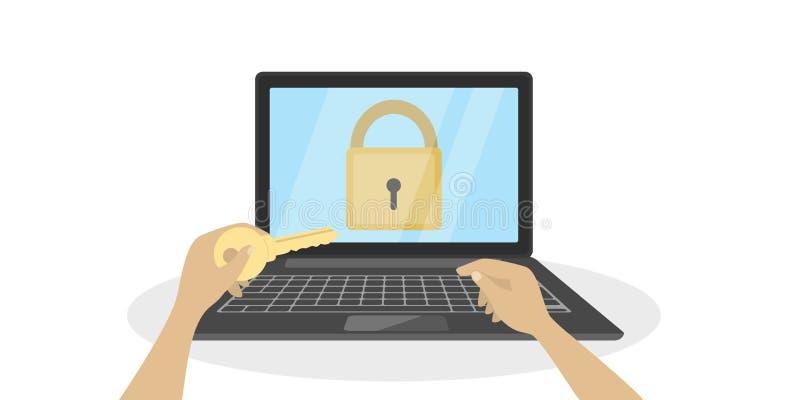 Computer portatile con la serratura royalty illustrazione gratis