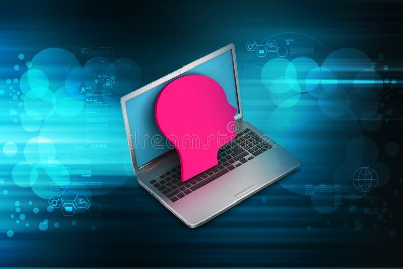 Computer portatile con la testa dell'uomo fotografia stock libera da diritti