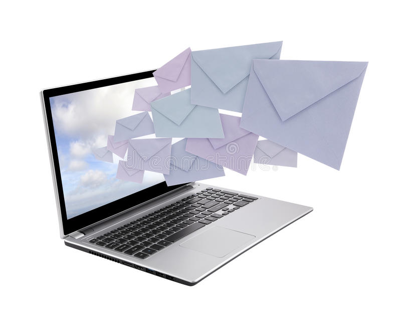 Computer portatile con le buste fotografie stock libere da diritti