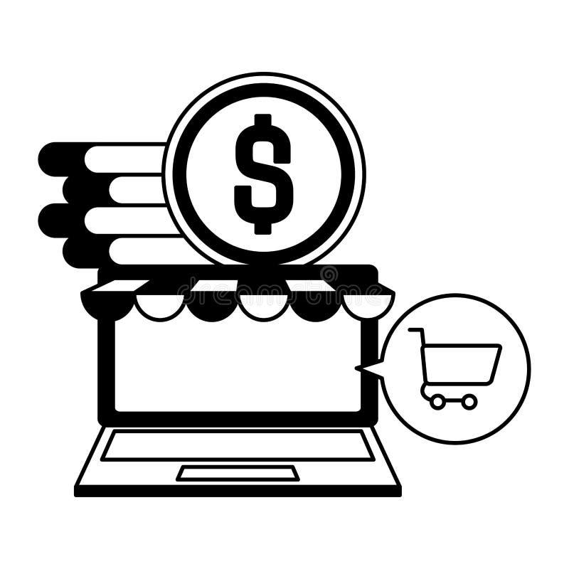 Computer portatile con le monete ed il carrello royalty illustrazione gratis