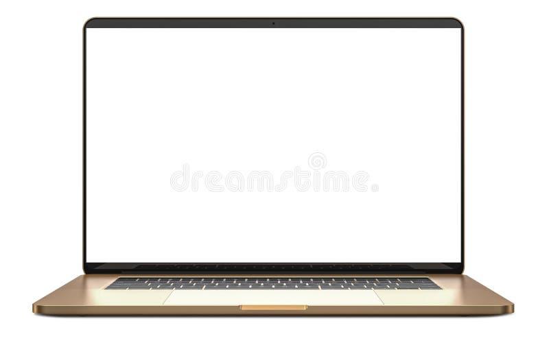 Computer portatile con lo schermo in bianco isolato su fondo bianco, corpo dell'alluminio dell'oro Intero a fuoco Su dettagliato immagini stock