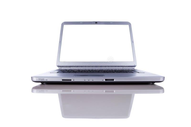 Computer portatile con lo schermo dello spazio della copia fotografia stock