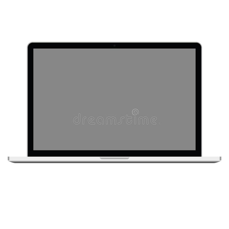 Computer portatile con lo schermo grigio, vettore eps10 di alta qualità Il taccuino del computer ha aperto l'icona vettore realis illustrazione di stock