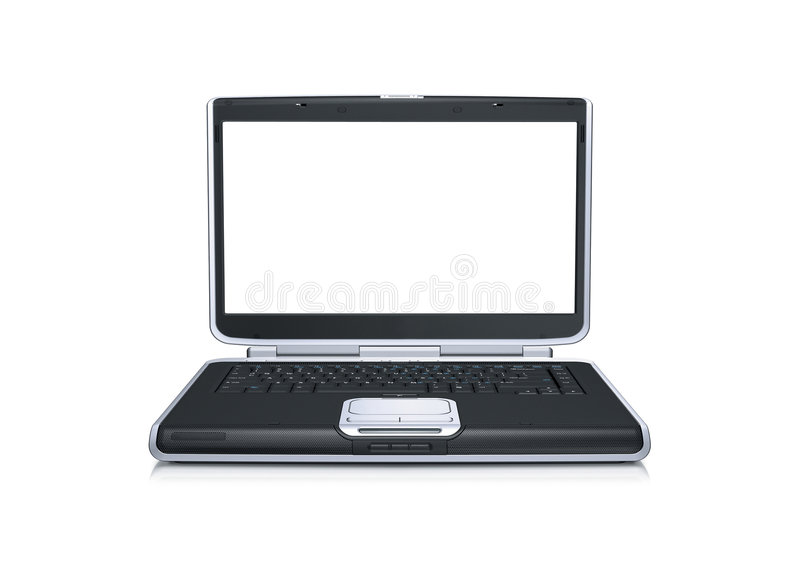 Computer portatile con lo schermo largo in bianco fotografia stock