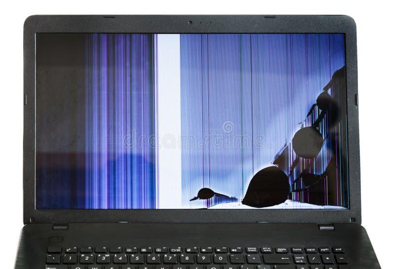 Computer portatile con lo schermo LCD incrinato isolato immagini stock libere da diritti