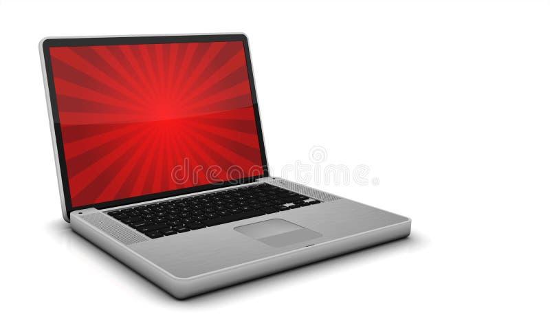 Computer portatile d acciaio lucido su Gray Background