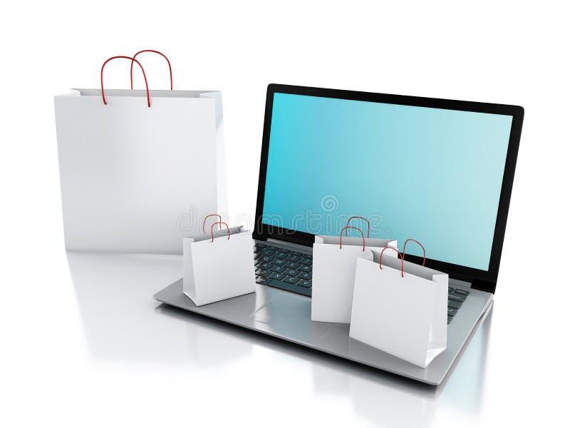 computer portatile 3d e sacchetti della spesa bianchi Concetto di commercio elettronico illustrazione vettoriale