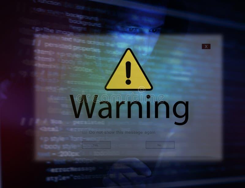 Computer portatile del computer con il pop-up d'avvertimento dell'incisione fotografia stock libera da diritti