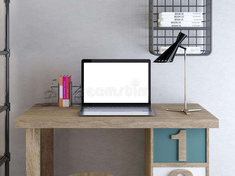 Computer portatile del manifesto del modello sulla tavola in uno stile dei pantaloni a vita bassa illustrazione vettoriale