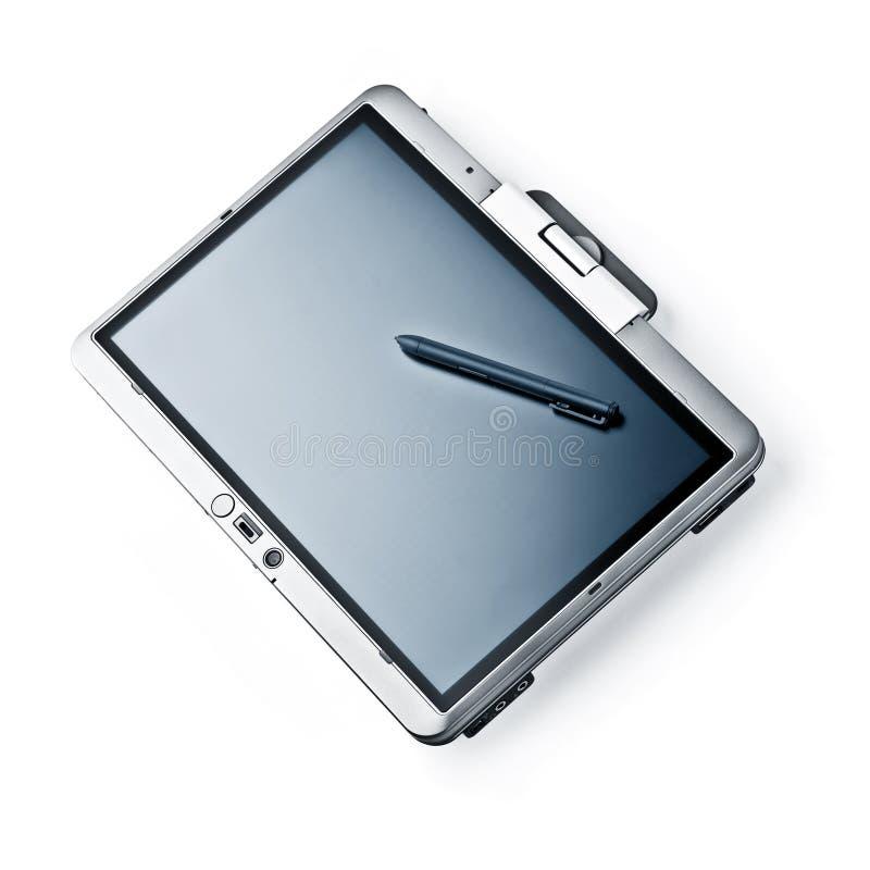 Computer portatile del PC del ridurre in pani su priorità bassa bianca immagini stock