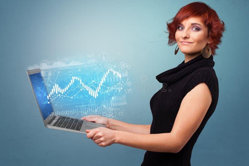Computer portatile della tenuta della donna con il concetto finanziario royalty illustrazione gratis
