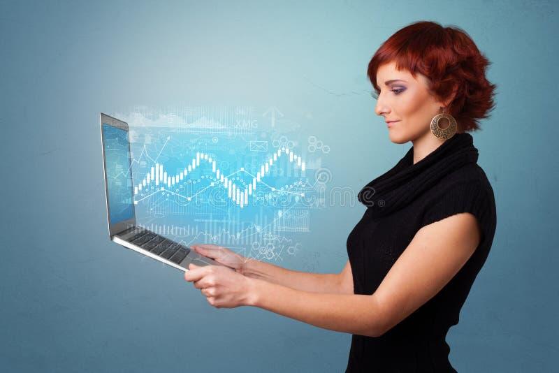 Computer portatile della tenuta della donna con il concetto finanziario fotografia stock