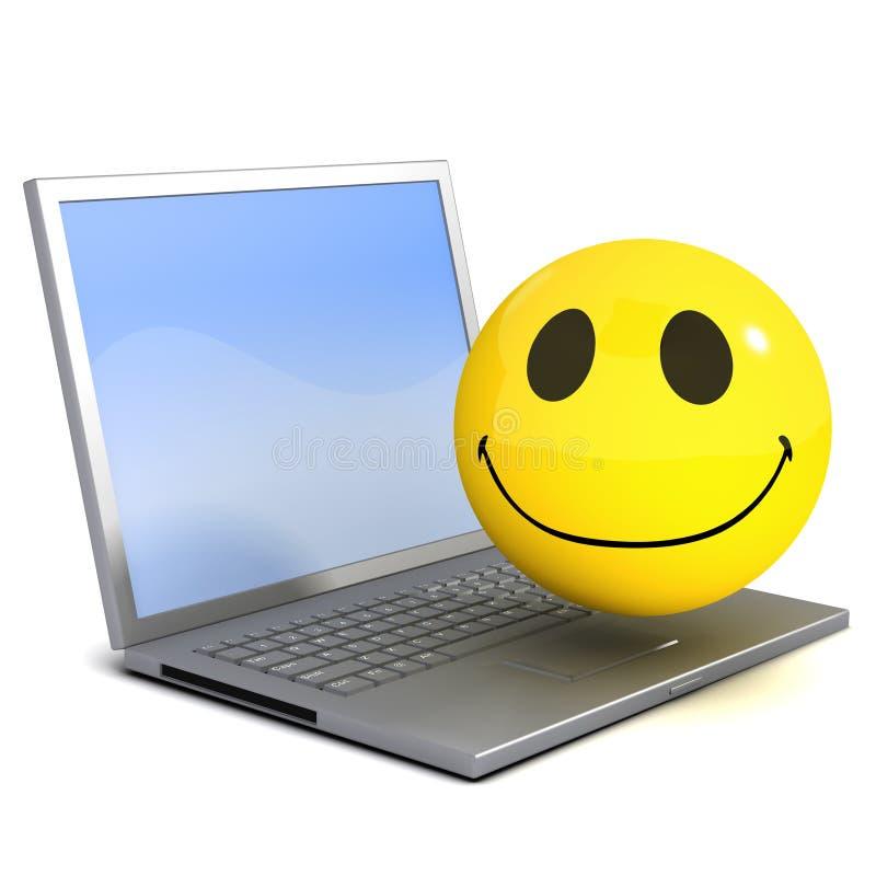 Computer Portatile Di Smiley 3d Illustrazione di Stock