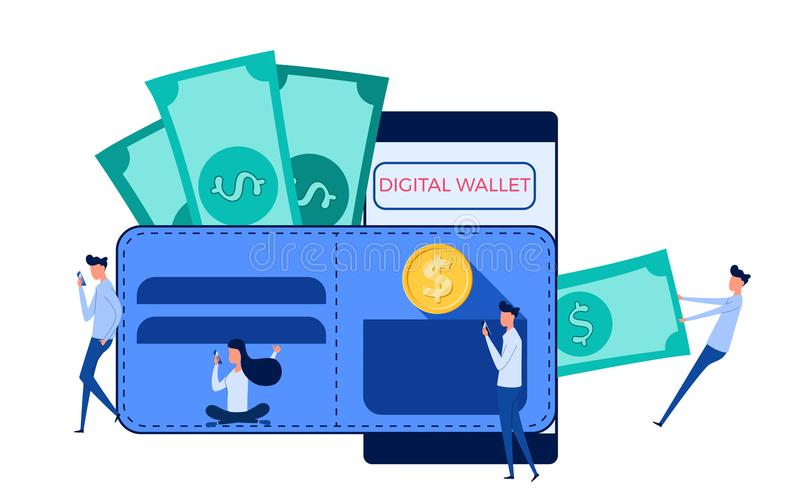 Computer portatile di uso della gente, smartphone per il portafoglio digitale, attività bancarie mobili, finanza online, commerci illustrazione di stock