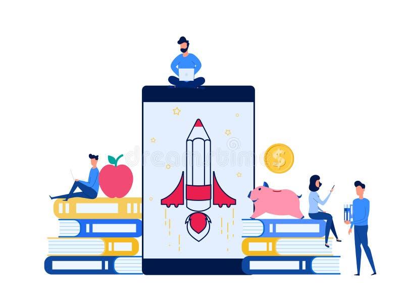 Computer portatile di uso della gente, smartphone per imparare istruzione online di e-learning Corsi di formazione online di cono illustrazione vettoriale