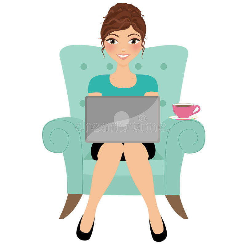 Computer portatile digitante della donna royalty illustrazione gratis