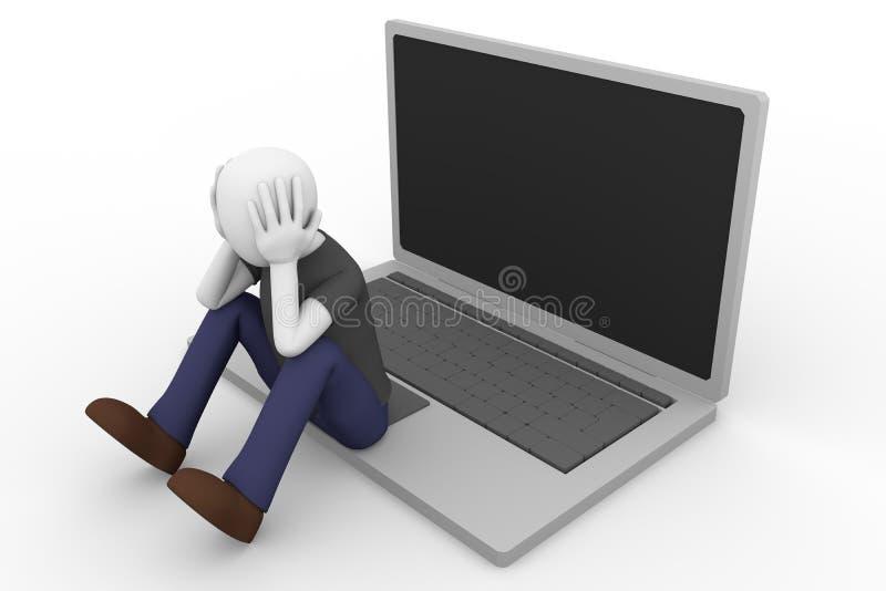 Computer portatile disperato dell'uomo illustrazione di stock