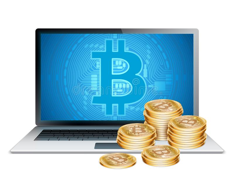 Computer portatile e Bitcoins dorato immagini stock libere da diritti