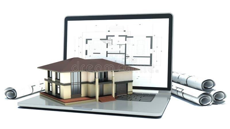 Computer portatile e disegni con il progetto della casa 3d - Progetto casa 3d gratis ...