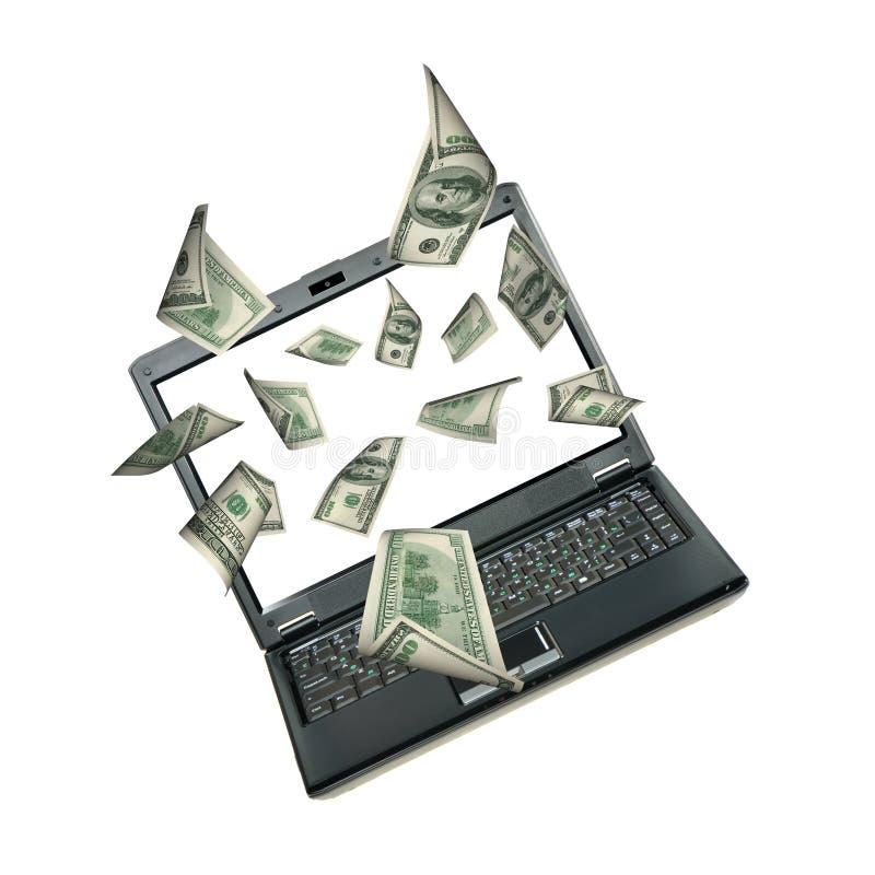 Computer portatile e dollari immagine stock
