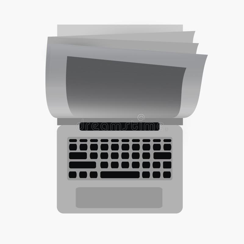 Computer portatile e libro della miscela royalty illustrazione gratis