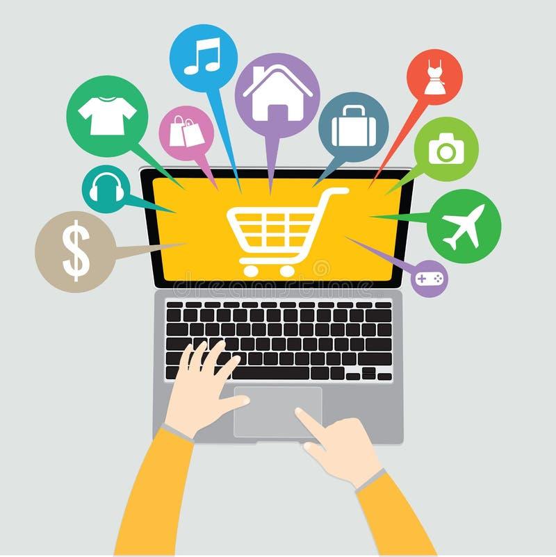 Computer portatile e mano con il negozio online del canestro, concetto di commercio elettronico illustrazione vettoriale