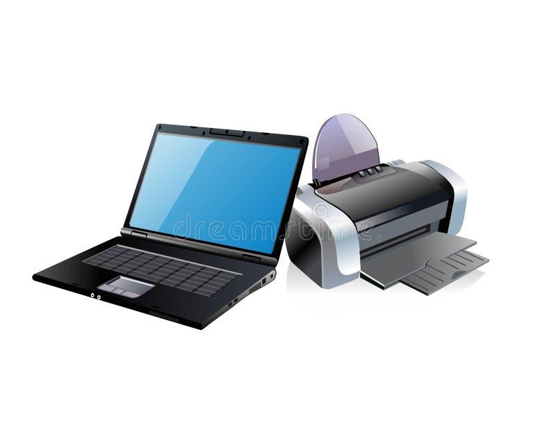 Computer portatile e stampante neri illustrazione di stock