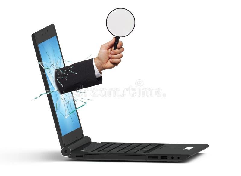 Computer portatile ed esperto fotografia stock