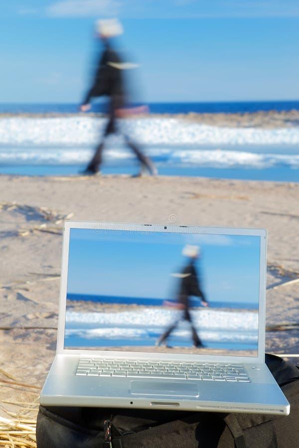 Computer portatile esterno fotografie stock