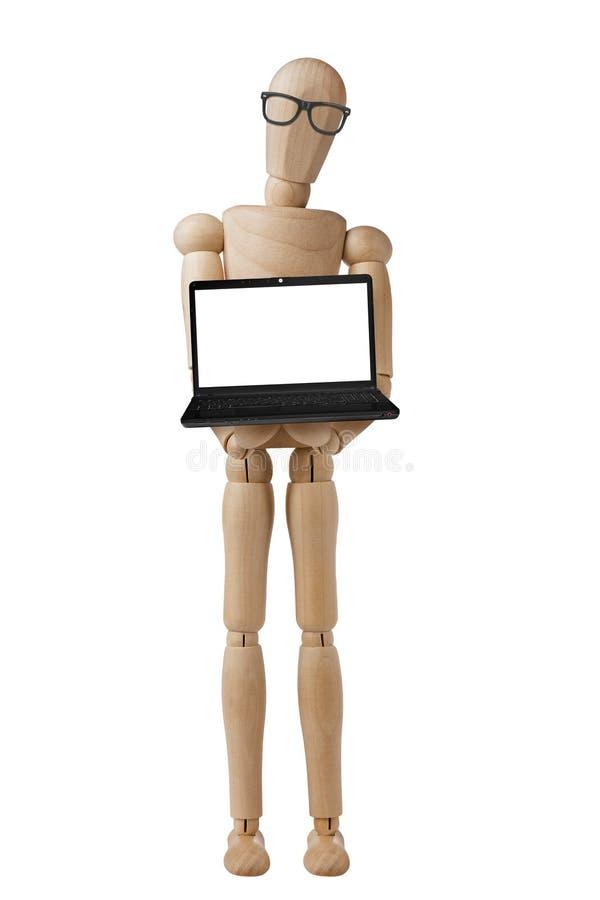 Computer portatile Front View Isolated del computer del manichino immagini stock