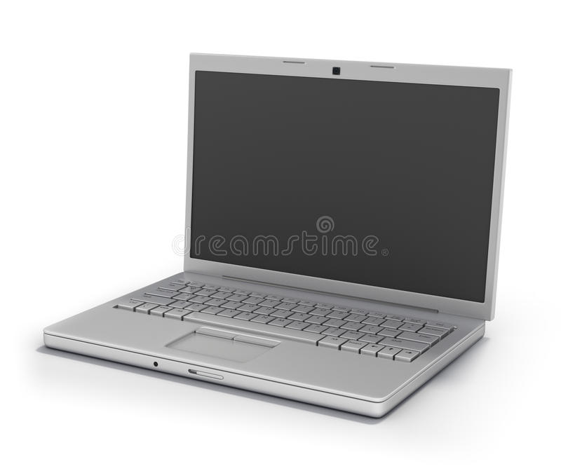 Computer portatile isolato [percorso di residuo della potatura meccanica] illustrazione di stock