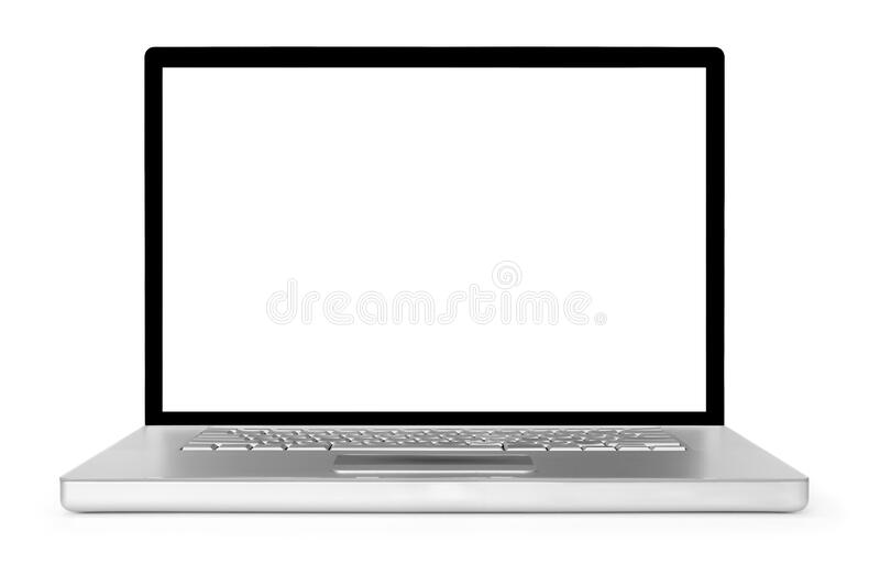 Computer portatile isolato su fondo bianco fotografia stock