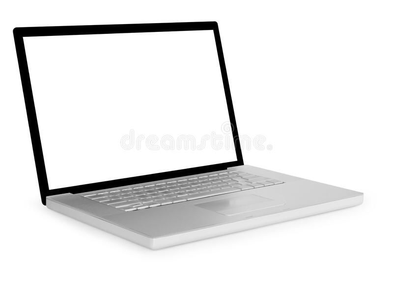 Computer portatile isolato su fondo bianco fotografie stock