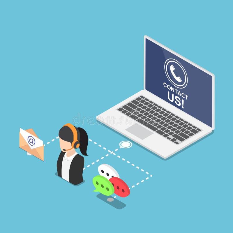 Computer portatile isometrico con il contatto noi simbolo ed icona illustrazione di stock