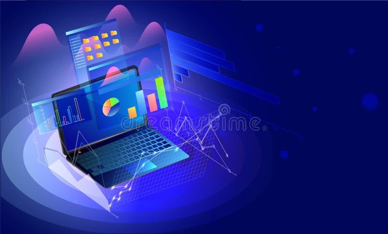 Computer portatile isometrico con l'attrezzatura app di affari sul sommario blu brillante illustrazione di stock