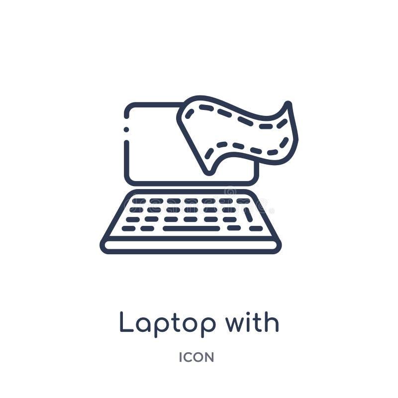 Computer portatile lineare con l'icona della striscia di pellicola dalla raccolta del profilo del cinema Linea sottile computer p illustrazione di stock