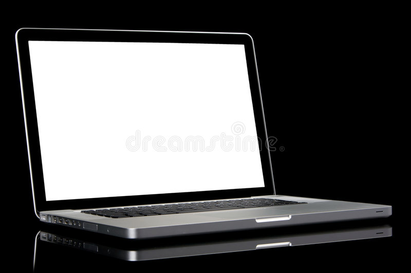 Computer portatile moderno con lo schermo bianco. immagine stock