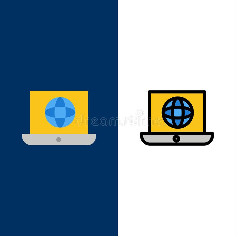 Computer portatile, mondo, globo, icone tecniche Il piano e la linea icona riempita hanno messo il fondo blu di vettore illustrazione vettoriale