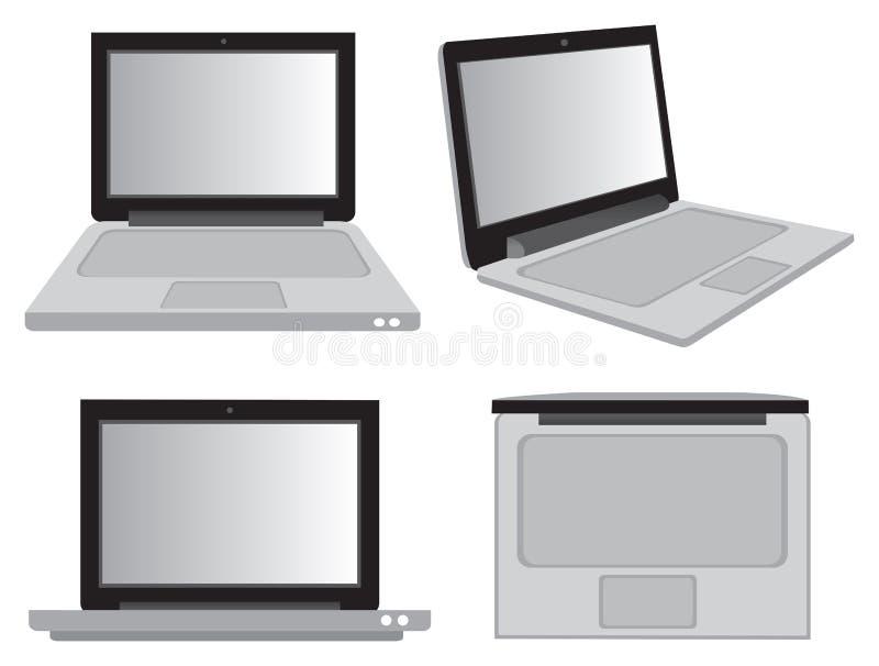 Computer portatile nel vettore Illustrati di visualizzazioni di prospettiva diversa illustrazione vettoriale