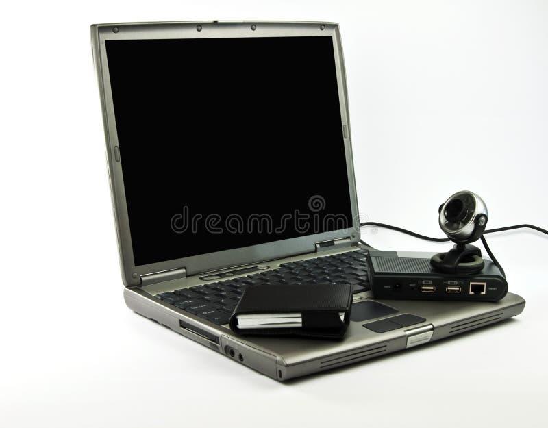 Computer portatile nero e grigio della foto con la videoconferenza fotografia stock libera da diritti