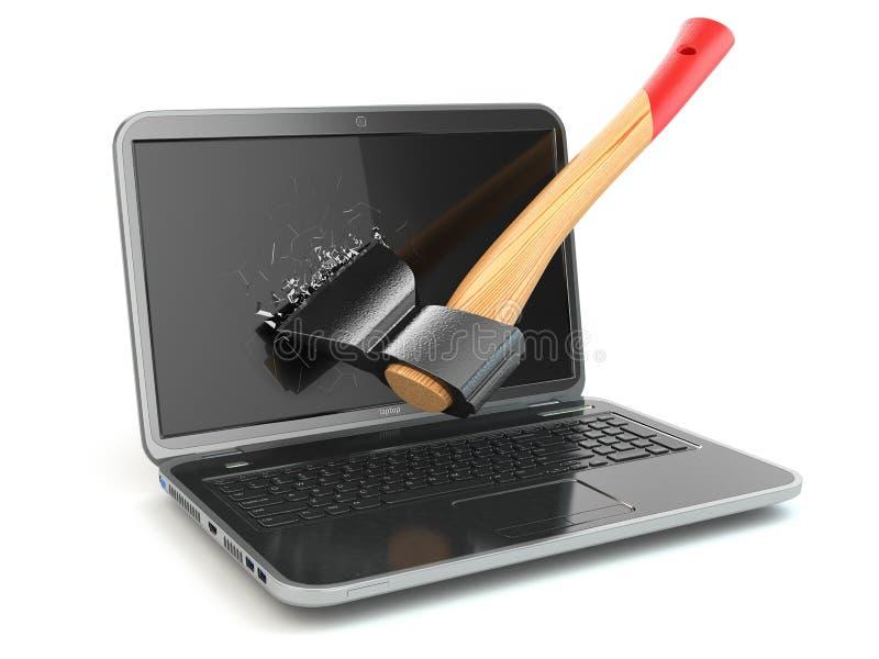 Computer portatile nocivo dall'ascia Concetto di rabbia quando lavorano ai comp. illustrazione di stock