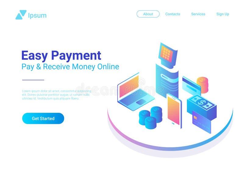 Computer portatile online piano isometrico PO di Smartphone di pagamento illustrazione vettoriale