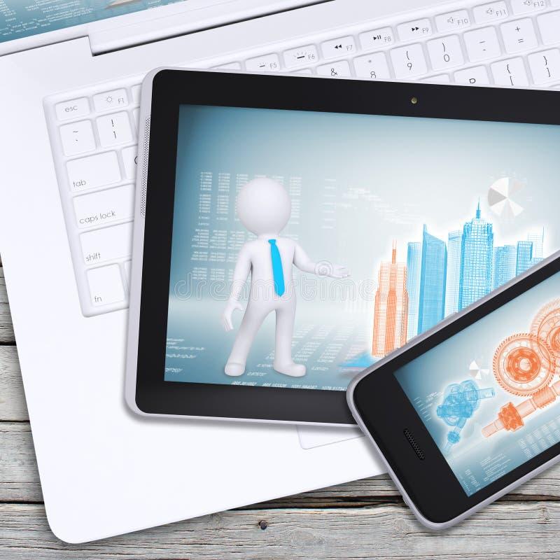 Computer portatile, pc della compressa e smartphone immagine stock libera da diritti