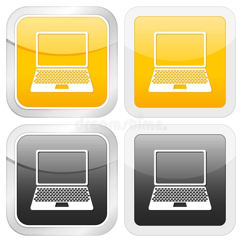 Computer portatile quadrato dell'icona illustrazione di stock