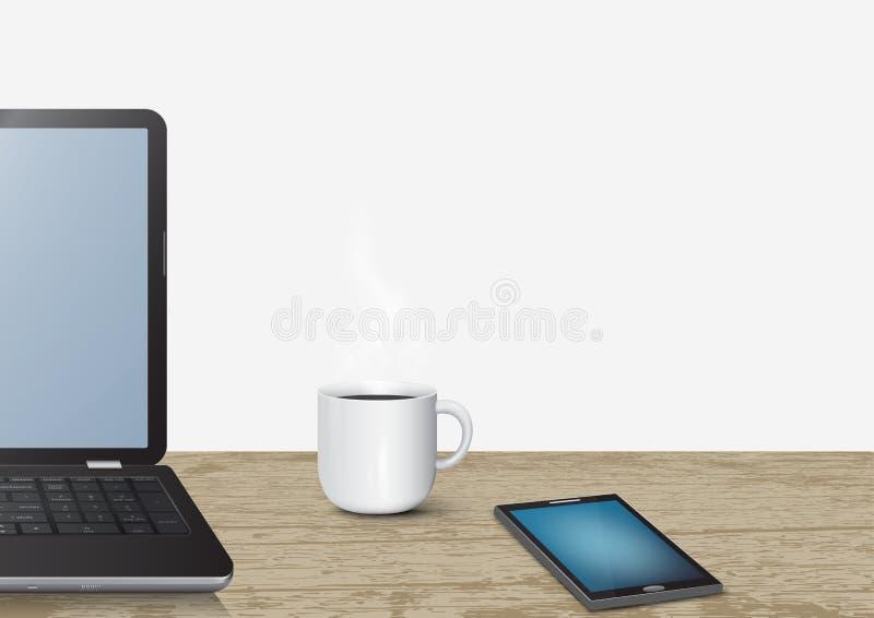 computer portatile realistico del computer portatile 3d sullo scrittorio di legno d'annata con il telefono cellulare e la tazza d illustrazione di stock