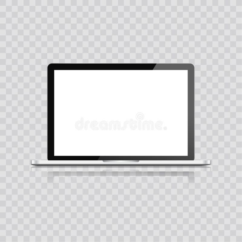 Computer portatile realistico isolato su fondo bianco taccuino del computer con lo schermo vuoto spazio in bianco della copia sul illustrazione vettoriale