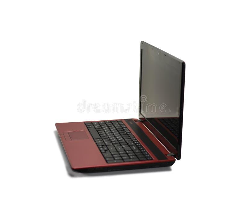 Computer portatile rosso con lo schermo nero immagini stock