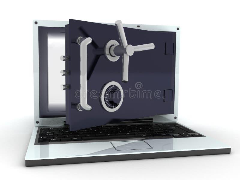 Computer portatile sicuro fotografia stock