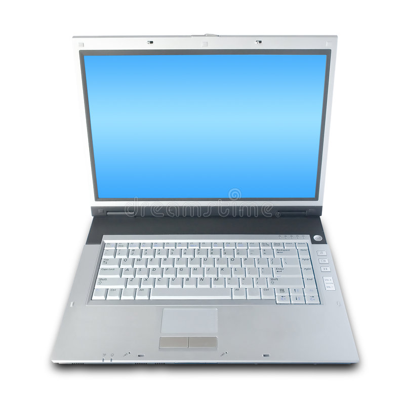 Computer portatile sopra bianco fotografia stock libera da diritti