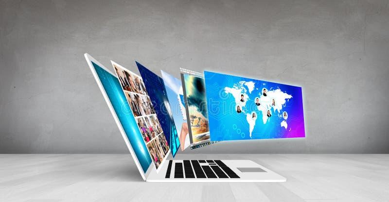 Computer portatile sul pavimento immagini stock